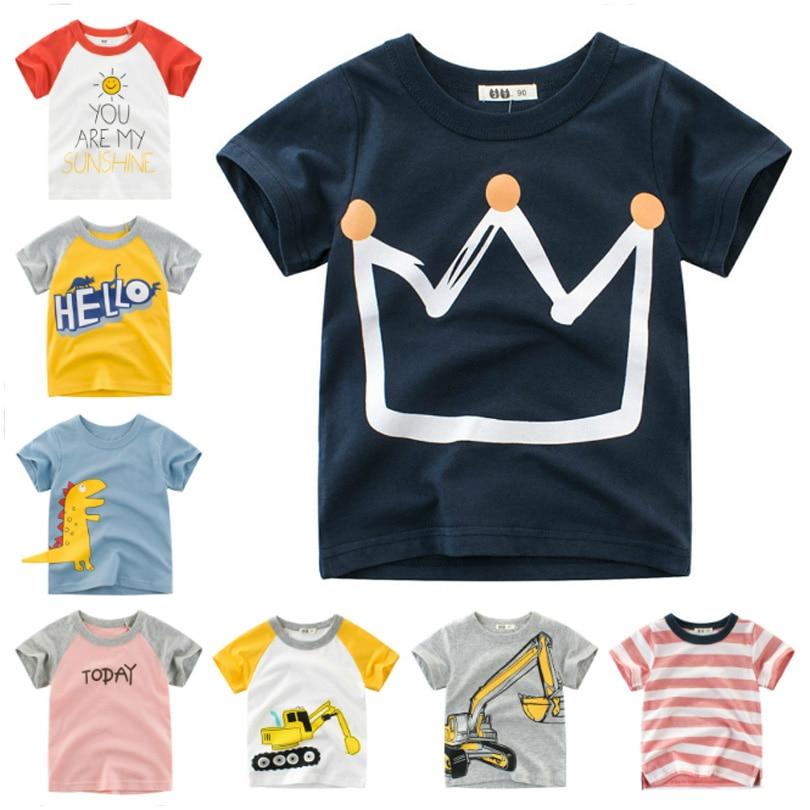 Summer Kids Boys T Shirt Crown Print Short Sleeve Baby Girls T-Shirts Cotton Children's T-Shirt O-Neck Tee Tops Boy Clothes