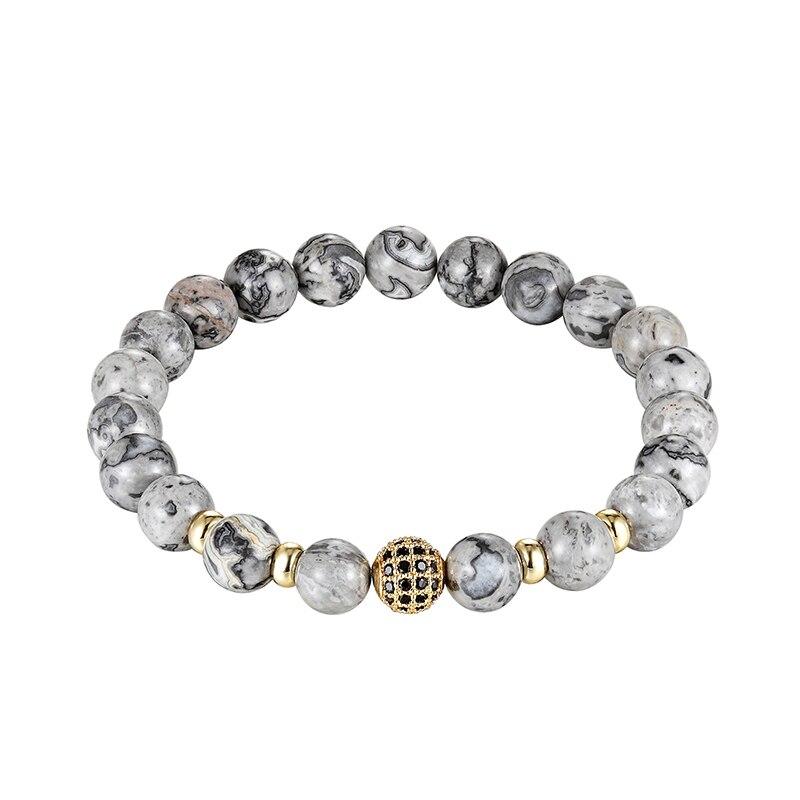 Marca de alta calidad bola CZ hombres pulsera Piedra Natural perla colgante de pulsera hombres pulsera de la suerte joyería regalo pulsera joyería regalo