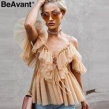 BeAvant épaules dénudées femmes hauts et chemisiers été 2019 dos nu sexy peplum haut femme Vintage à volants maille blouse chemise blusas