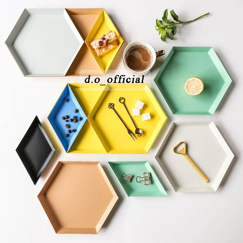 Placa de jóias polígono colorido combinação desktop bandeja armazenamento geométrico nordic diamante metal hexagonal chá frutas prato jóias