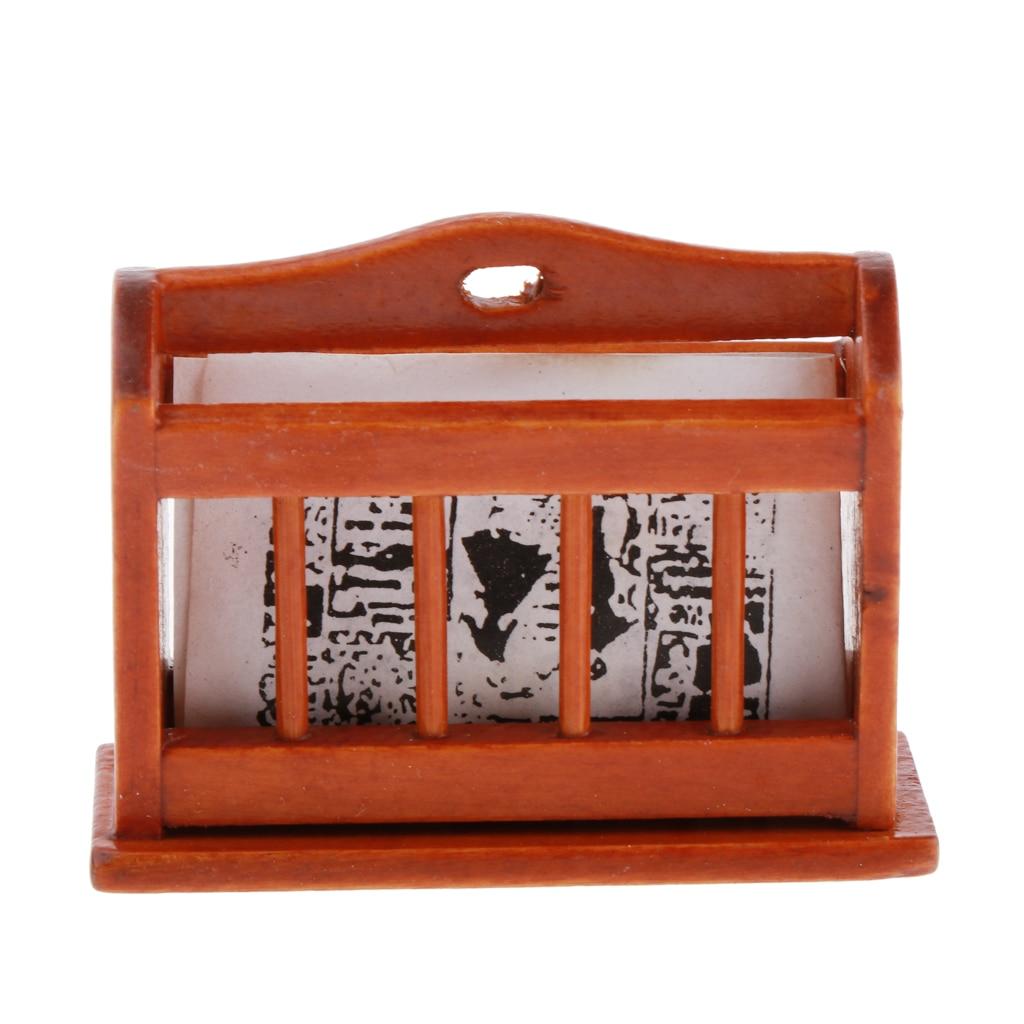 Casa de muñecas miniatura estante de exhibición de madera de periódico, revista Rack para 1/12 escala muñeca casa Decoración