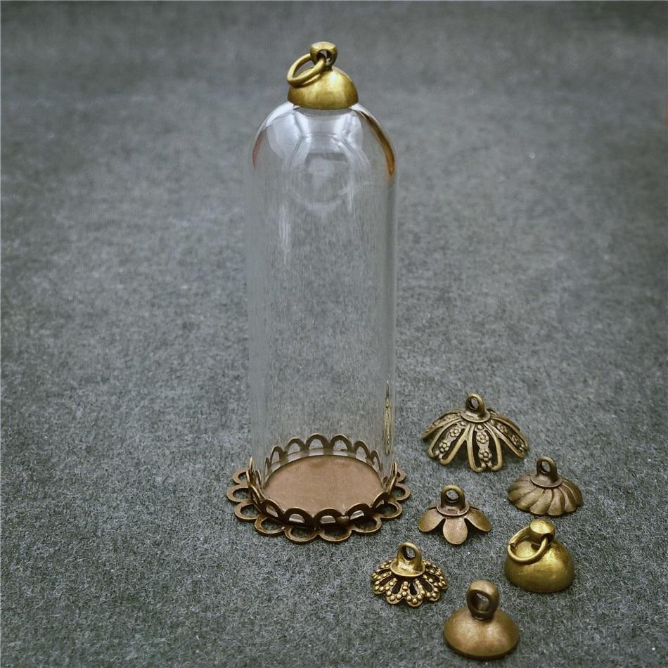 5 Juegos 50x18mm tubo de vidrio bronce cuentas de base cap cristal colgante de frasco botella Domo joyería hallazgos