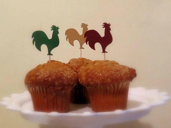 Gallo cupcake toppers rústico granero boda alimentos selecciones despedida de soltera té fiesta muffin decoraciones