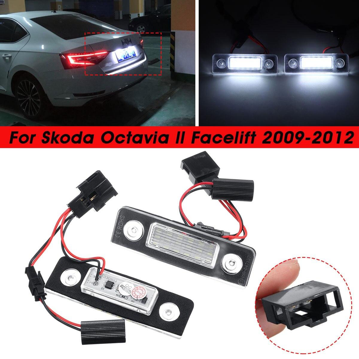 1 Pair Car LED Number License Plate Light For Skoda Octavia 2 Facelift 2009 -2012 Facelifted 2003-2012 Roomster 5J 2006-2010