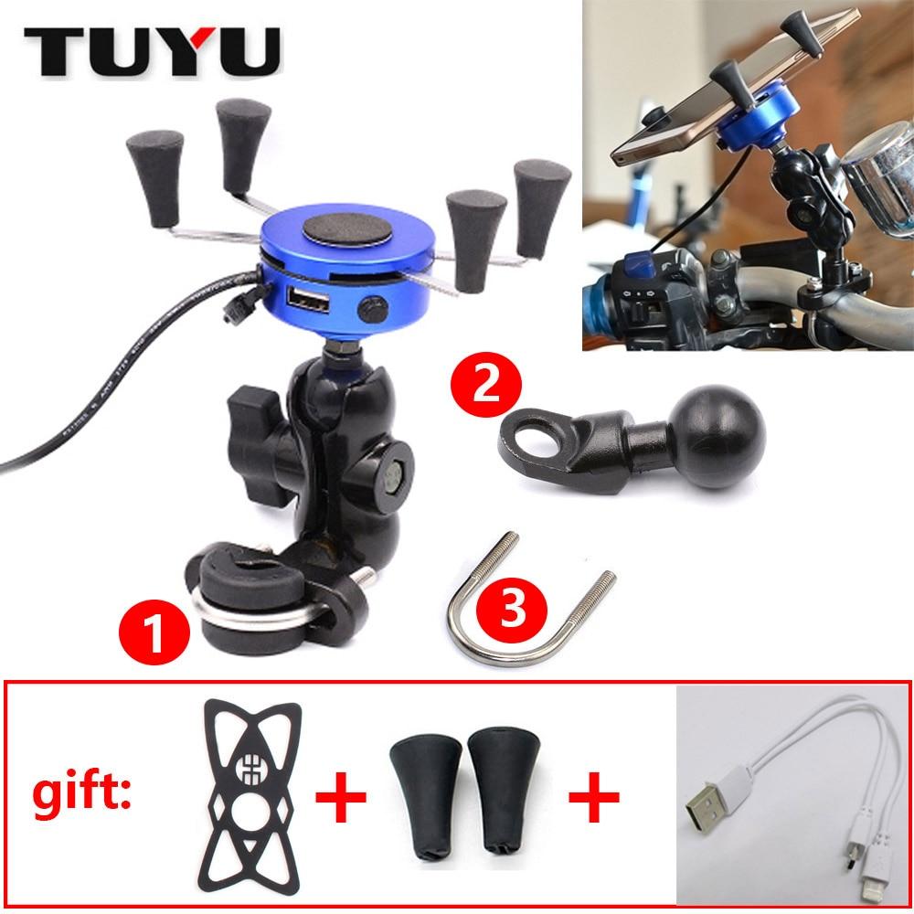 Adaptateur de Port de moto TUYU avec support de téléphone USB en aluminium vélo et moto 2 en 1 X support 3.5-6