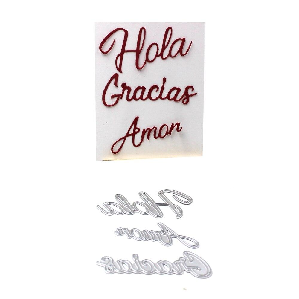 Kscraft espanhol hola amor gracias corte de metal dados para diy scrapbooking/cartão que faz/crianças diversão decoração suprimentos