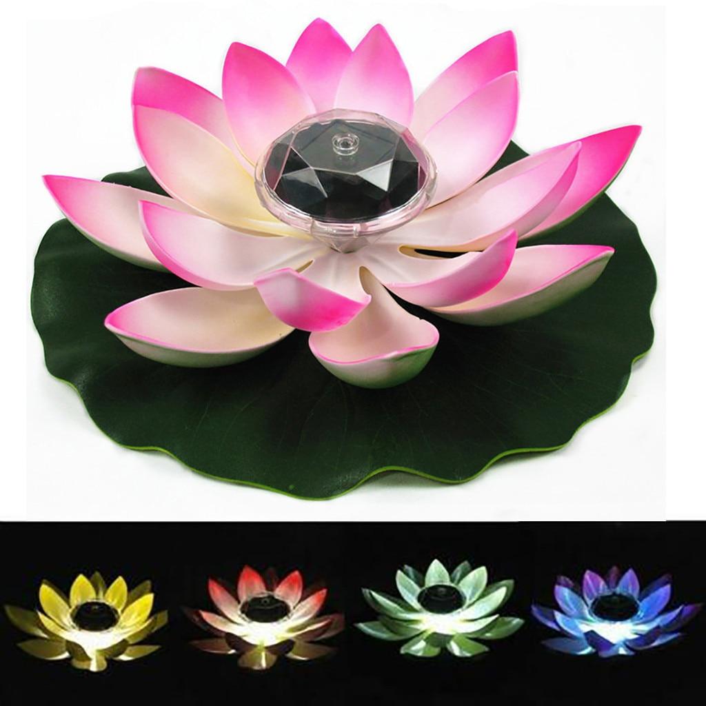 Светодиодный светильник на солнечной батарее в форме цветка, плавающий фонтан, пруд, сад, бассейн, лампа, реалистичный светодиодный светильник в форме лотоса, яркие лампы