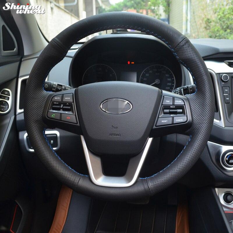 BANNIS mano-negro de punto de cuero protector para volante de coche para Hyundai ix25 2014 de 2015 a 2016