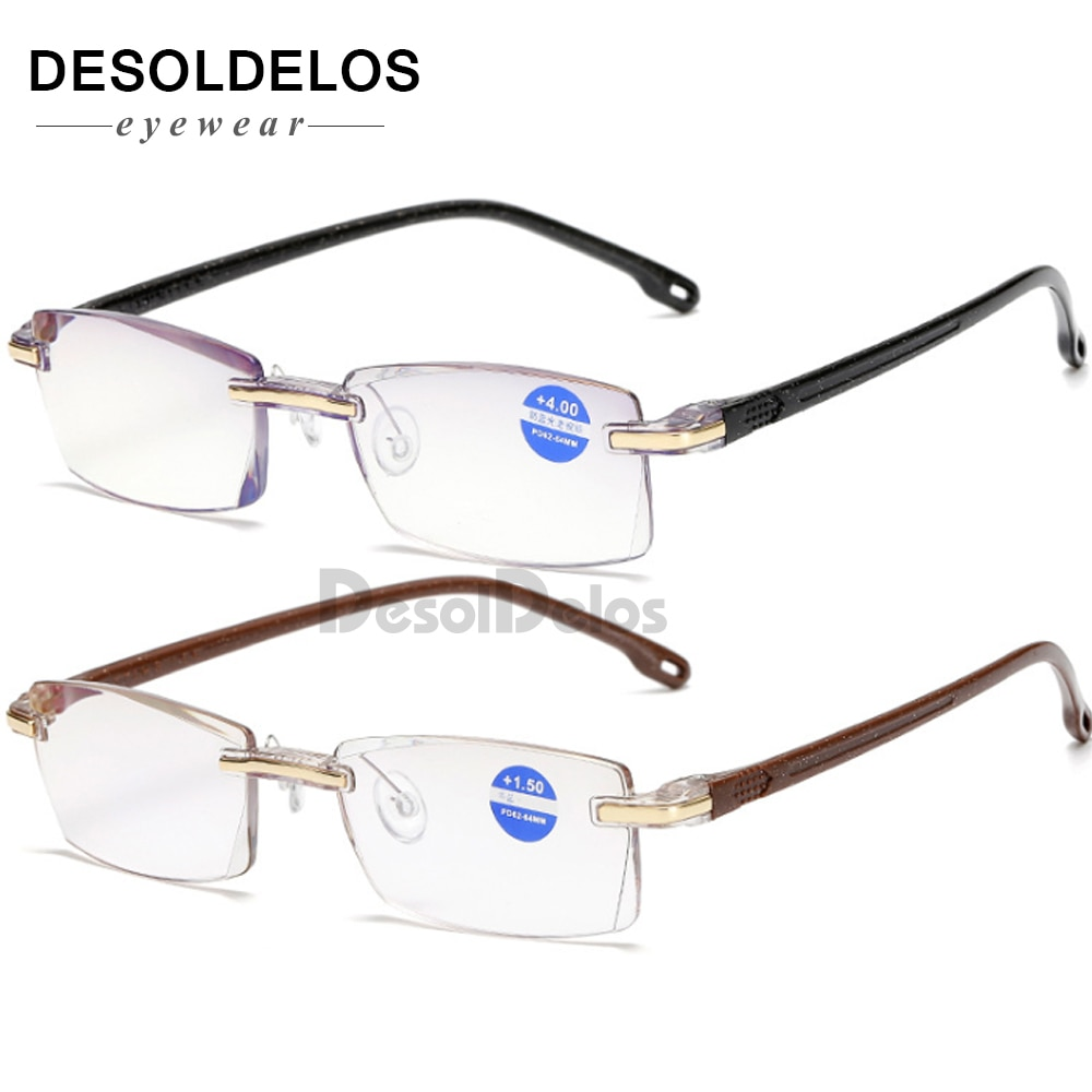 Gafas de lectura sin montura clásicas, lentes transparentes, gafas de presbicia, gafas + 1,0 + 1,5 + 2,0 + 2,5 + 3,0 + 3,5 + 4,0 + Unisex