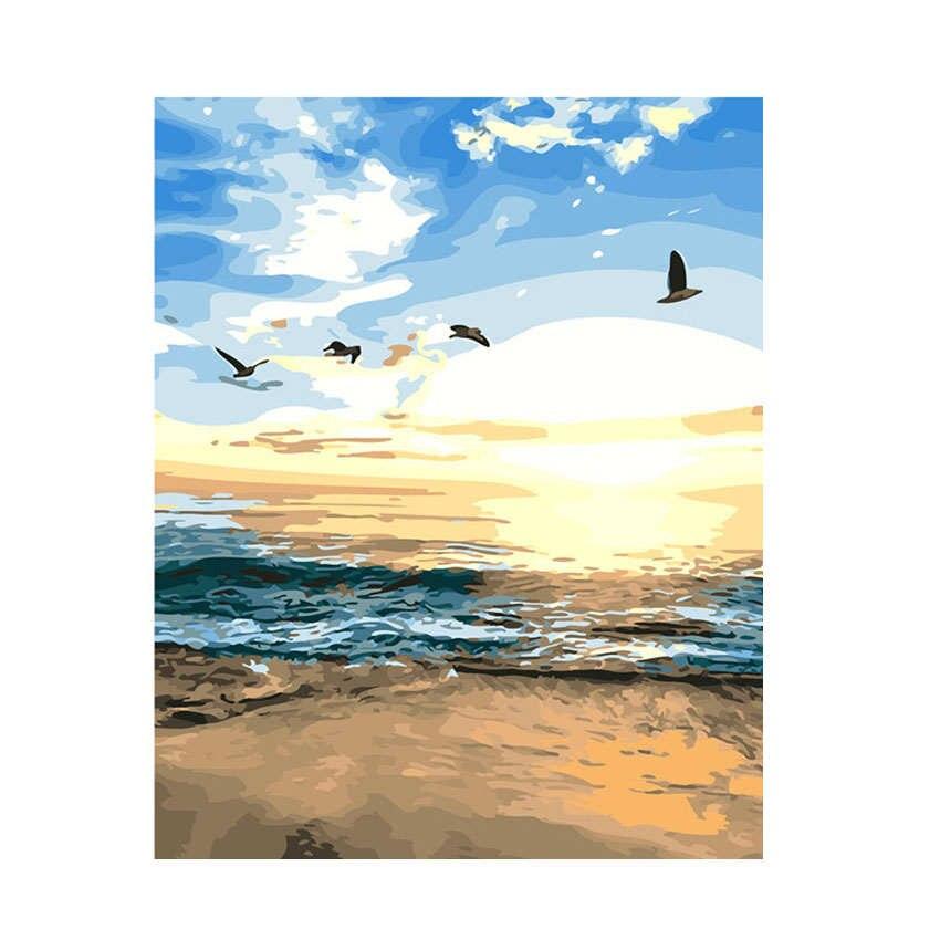 Cuadro de RIHE Seagull Flying con números, pintura al óleo sobre lienzo, Cuadros pintados a mano, decoración de 9 tipos de pintura acrílica para decoración del hogar
