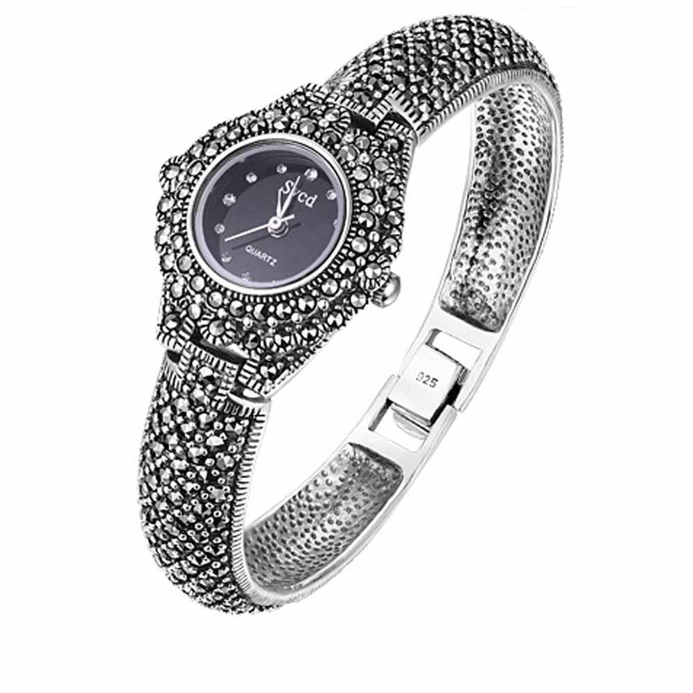 Relojes de pulsera Retro para mujer, de Plata de Ley 925, color negro marcasita, pulsera de plata tailandesa clásica, gran oferta