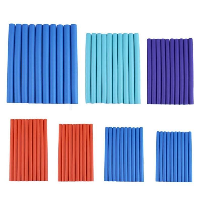 10 pçs cabelo curling curler rolos de cabelo de ar mágico espuma macia bendy torção magia flexi hastes estilo varas de cabelo ferramenta cor aleatória