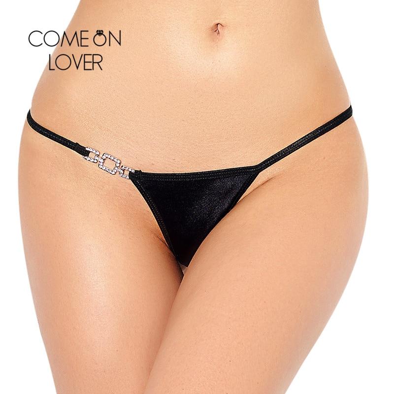 Comeonlover Sexy G String mujeres encaje transparente cintura baja tangas ropa interior mujeres escritos Metal hebilla Intimates Sexy Tanga PI5052