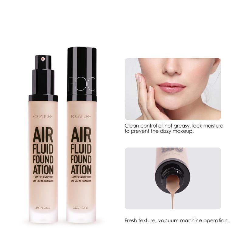 Base de Maquillaje FOCALLURE AIR FLUID, Base de maquillaje hidratante cosmética profesional, maquillaje impermeable de larga duración para mujeres