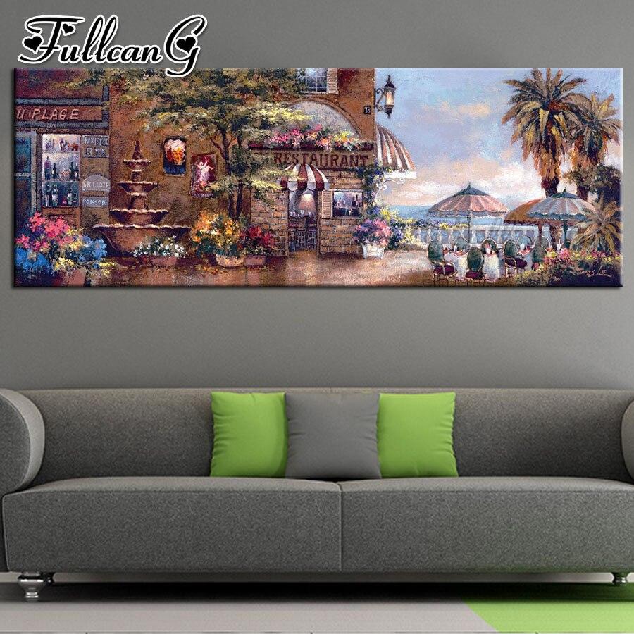FULLCANG taladro cuadrado completo/redondo 5d diy pintura de diamante para restaurante junto al mar gran mosaico bordado decoración de pared de paisaje FC1179