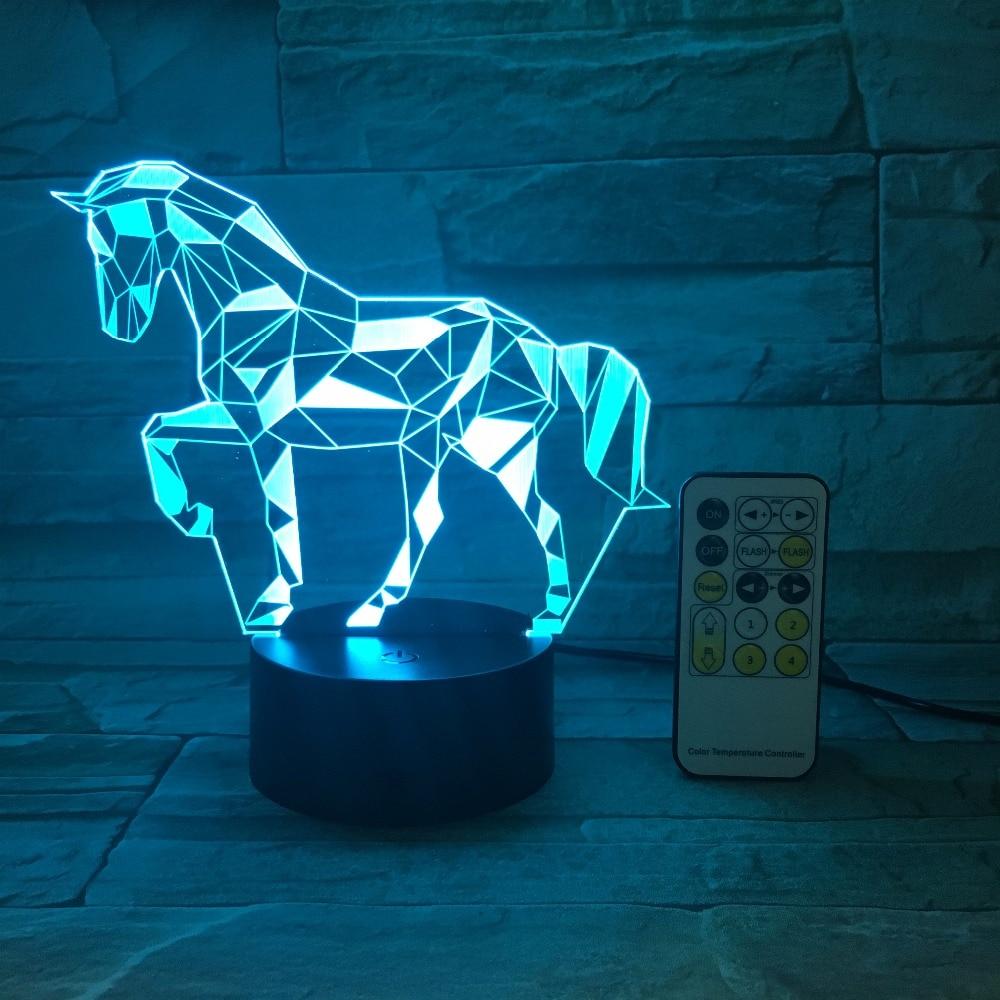 Control remoto o Interruptor táctil acrílico Lámpara de visión estéreo 3D caballo Lámpara decorativa interior 7 cambio de Color Touch lámpara de noche para dormitorio