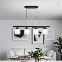 Glass Luminaire LED Pendant Lights Modern Creative 4 HeadsHanging Light Fixtures Iron Living Room Restaurant Home Lighting
