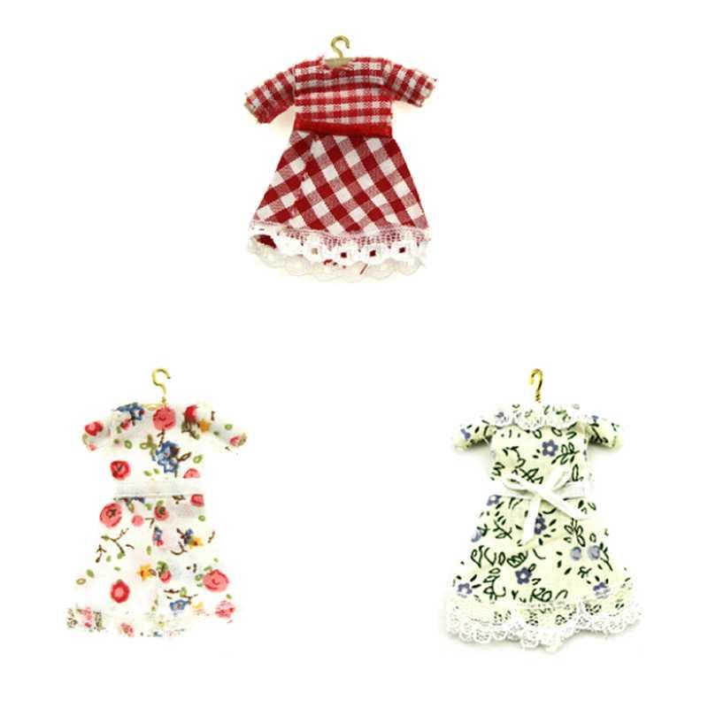 1/6 1/12 escala muñeca de moda hermosa hecha a mano ropa de fiesta Top vestido de flores para muñeca vestido de noche estampado