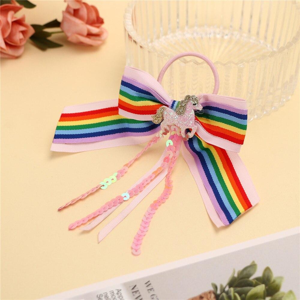 Accesorios para el cabello Cheer Bows, bandas para el cabello para niñas, purpurina, unicornio, Scrunchies, arco iris, nudo de cinta, bandas de goma, soporte de cola de caballo