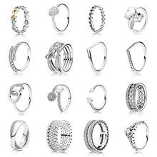 16 Style 1 pièces femmes 925 en argent Sterling coeur couronne nœud papillon anneaux bijoux pour les femmes