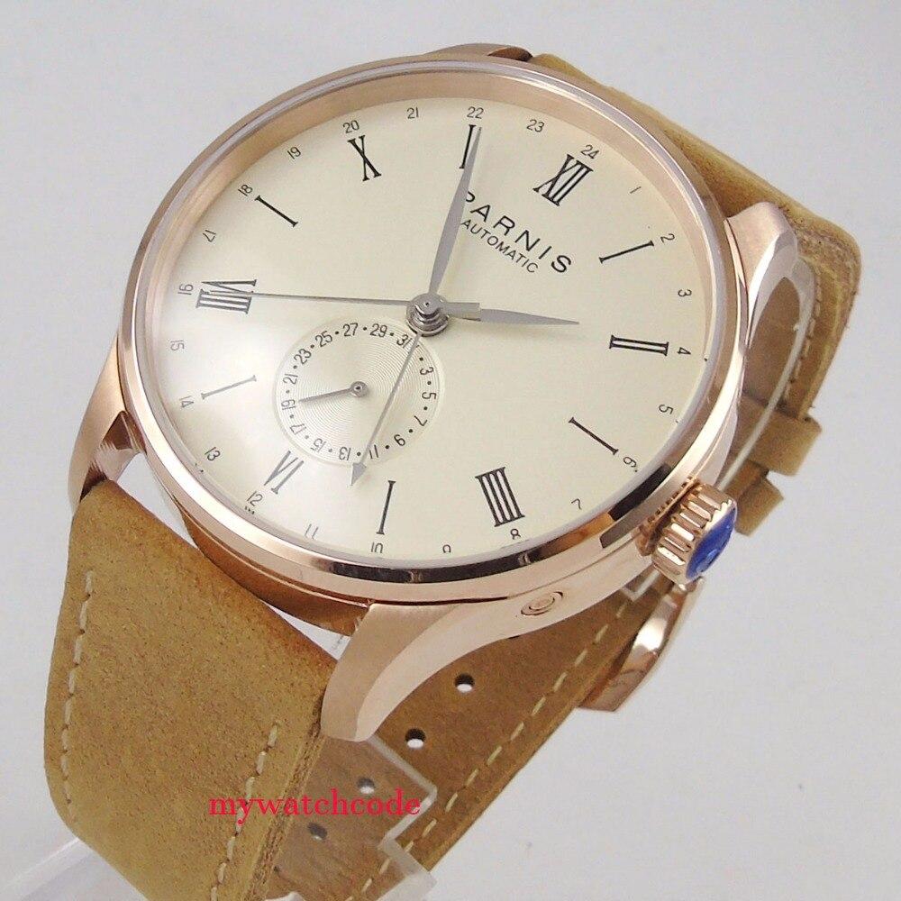 42mm Parnis לבן חיוג רוז זהב מקרה 24 שעות תאריך שחף mens שעון