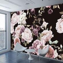 Пользовательские 3D фото обои росписи ручная роспись черно-белые розы цветы, пионы на стены росписи гостиной домашний Декор Картина Настенная бумага