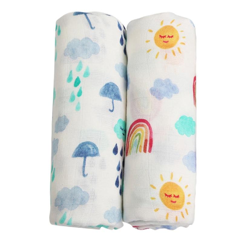 2pcs Set Soft Bamboo Cotton Baby Blanket Muslin Swaddle Wrap Newborn Bamboo Muslin Blankets Gauze Bath Towel