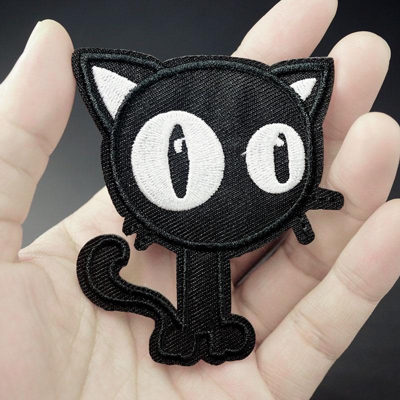 Gato Negro (tamaño 6.0X7.3cm) parches de tela DIY parches bordados apliques ropa de costura ropa de pegatinas Accesorios