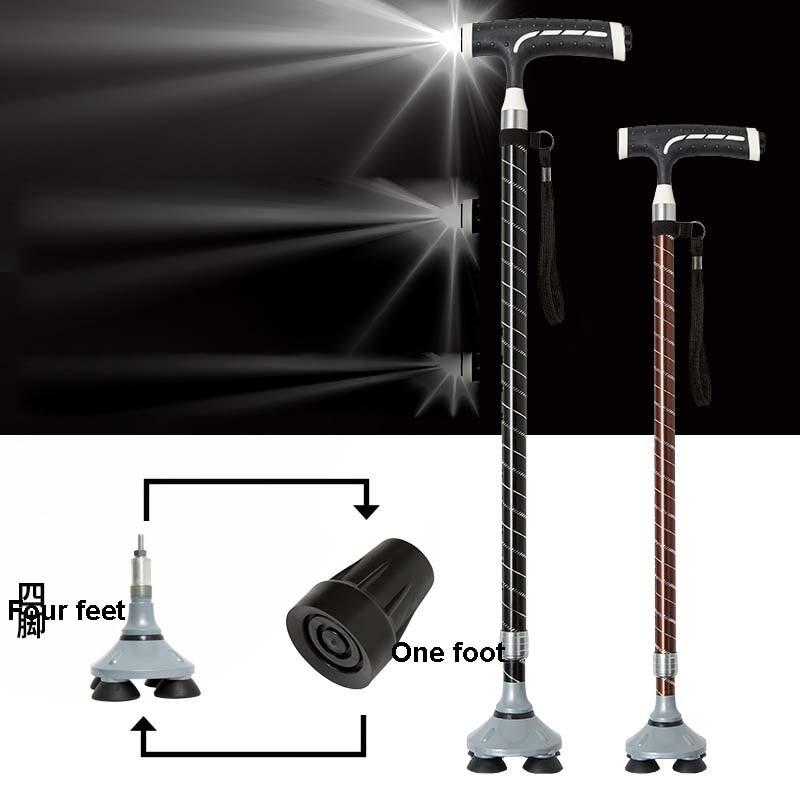 Умная трость с лампой, телескопическая противоскользящая Регулируемая палочка для пожилых людей из алюминиевого сплава с Т-образной ручко...