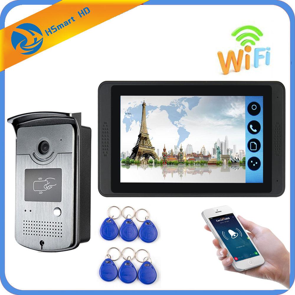 Monitor de 7 pulgadas, intercomunicador de vídeo RFID, Wifi, videoportero inalámbrico, timbre, sistema de intercomunicación con cámara 4G