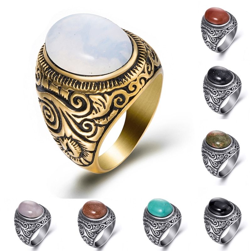 Anillo ovaladas naturales turquesas negro ónix piedra lunar plata oro acero inoxidable para hombre joyería de talla grande 8-15