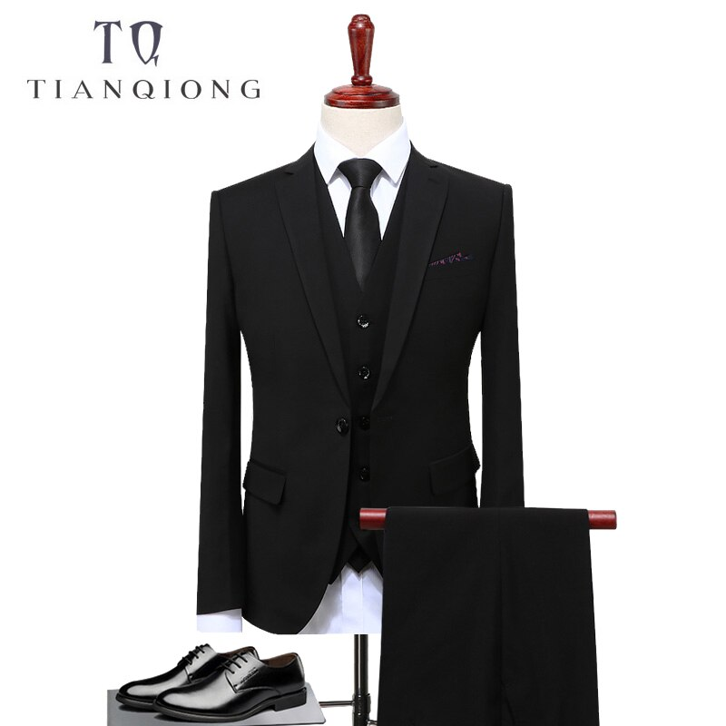 TIAN QIONG traje de novio para boda para hombre 2018 traje sólido esmoquin de boda negro para hombre traje de esmoquin Casual S-4XL Masculino