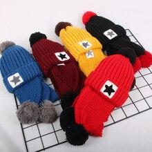 Chapeau en laine velours pour enfants   Nouvelle collection, chapeau chaud, écharpe pour enfants, chapeau pour tête de garçons, casquette à capuche cinq pointus, bonnet tricoté pour filles