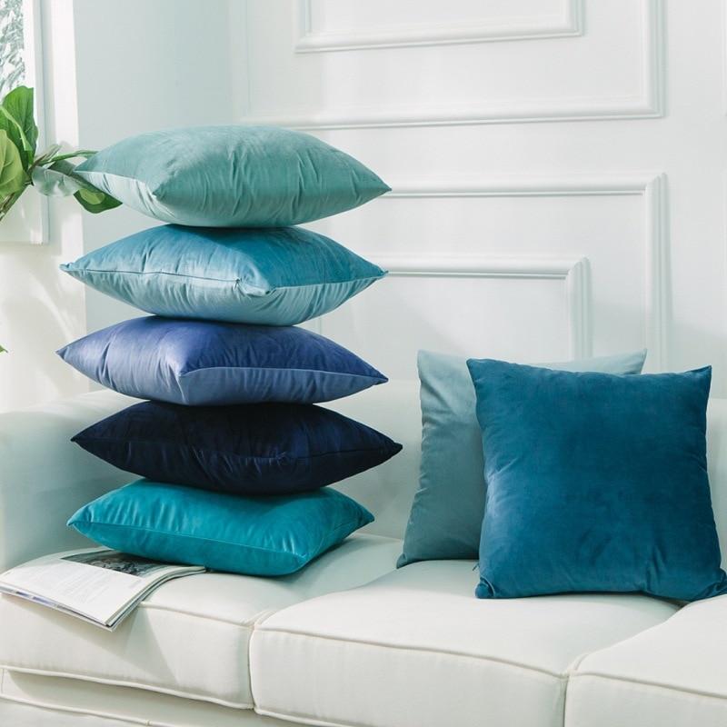 Nórdico capa para casa sofá capa de almofada macio veludo holandês camurça lance almofadas azul e roxo decorativo fronha
