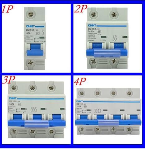 50 قطعة/الوحدة Chint عالية الطاقة الهواء التبديل الهواء التبديل DZ158 2P 3P 100A 125A