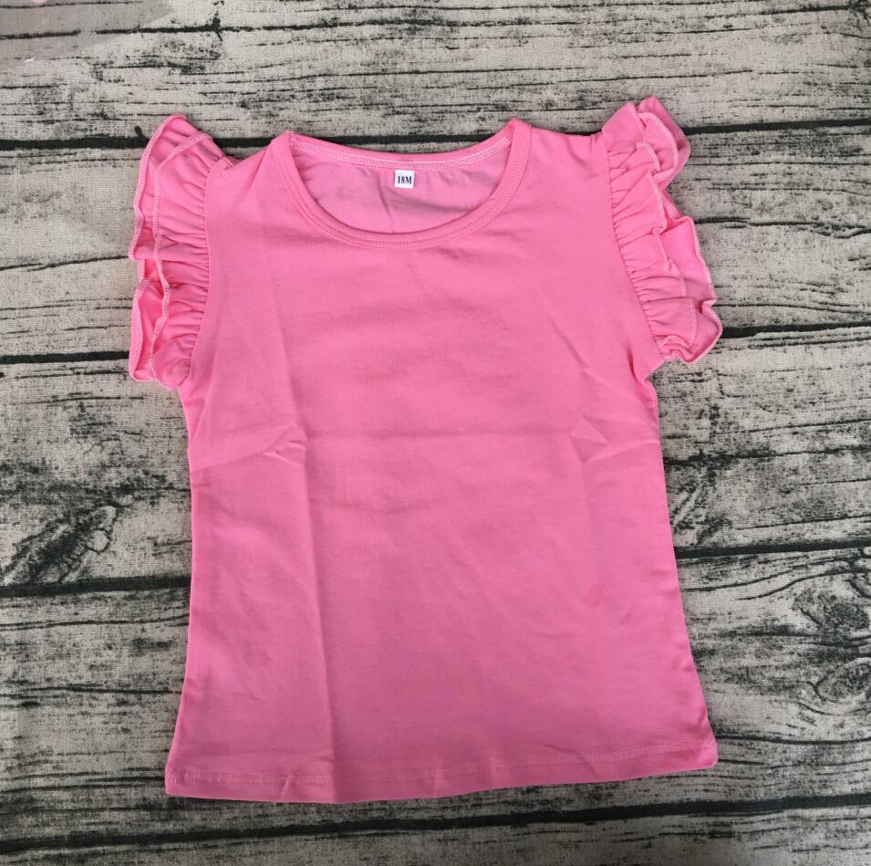 ¡Venta al por mayor! ropa en blanco para niños 2017, nueva camisa de modelo de algodón, tops de verano para niños, camisa con volantes
