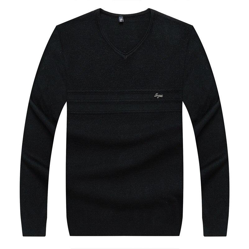 8XL 6XL marca Casual suéter con cuello pico rayas Slim Fit hombres de manga larga Patchwork Pollover suéter Thin Clothes agasalho masc