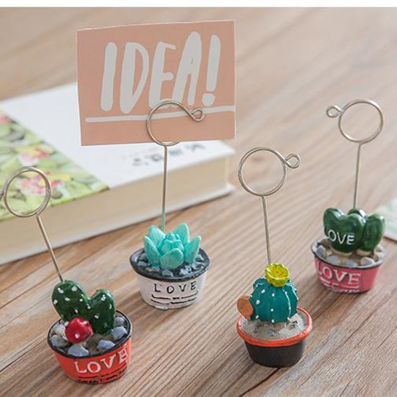 Coloffice 1pcLovely Small Potted Variety Cactus Sewing Machine Modeling Decorative Message Folder Desktop Card Holder Photo Clip
