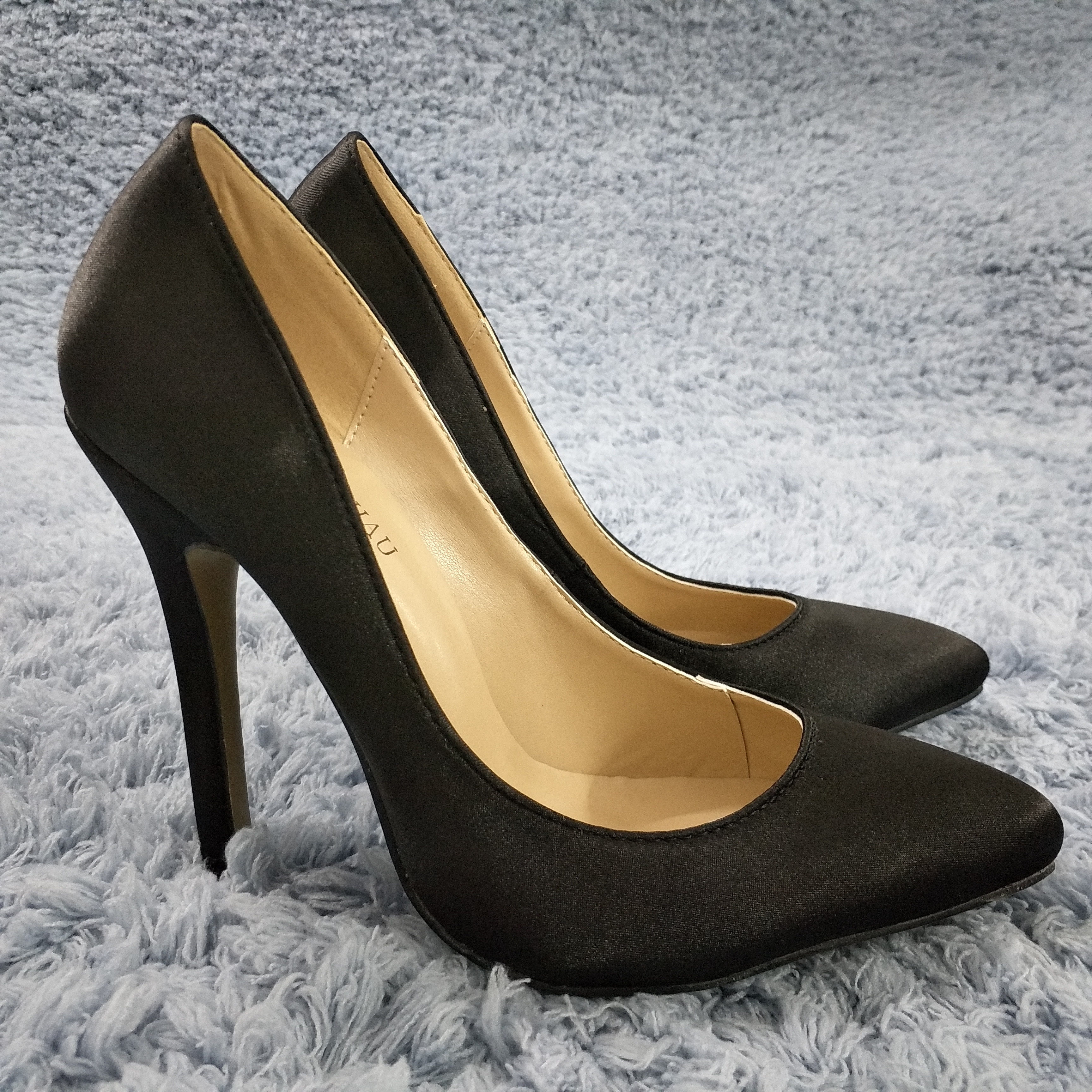 Women Stiletto Thin High Heel Pumps Sexy Pointed Toe Black Satin Party Work Office Career Lady Shoes 119-b10