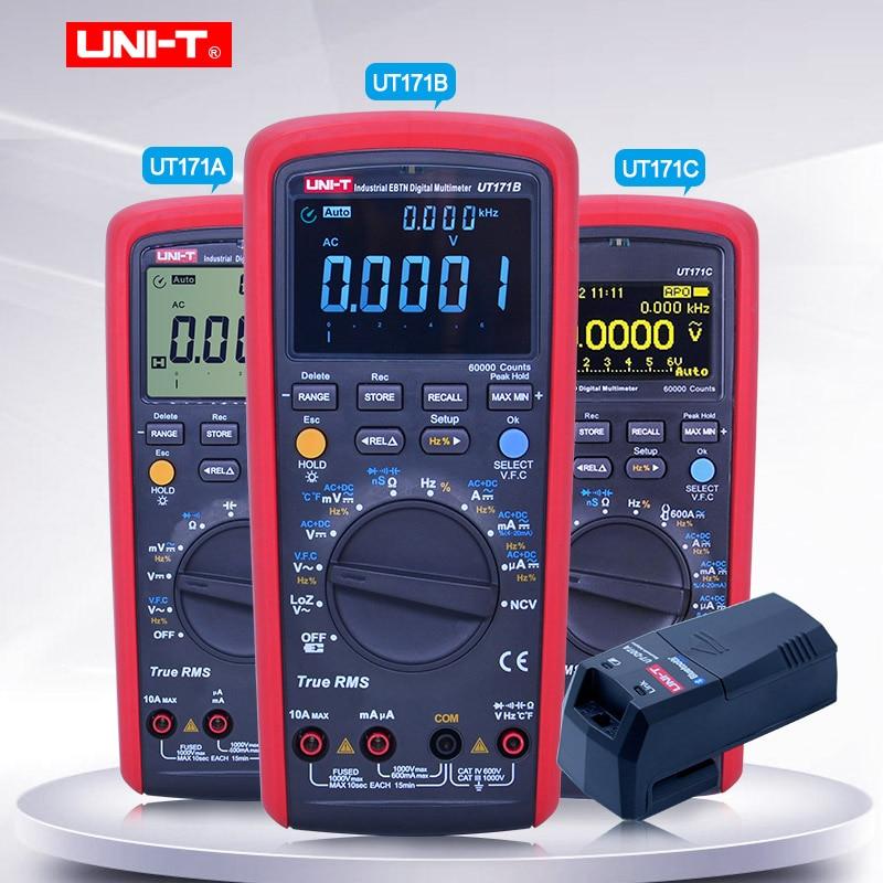 UNI-T TrueRMS Multimetro Digitale UT171A/B/C Voltmetro Amperometro Ohmmetro Capacità Frequenza tester Con UTD07A modulo bluetooth