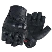 Motorcycle Gloves Half Finger Mitt Glove Fingerless Leather Summer Men Women Scooter Moto Mitten Electric Bike Racing Cycling