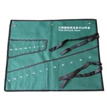 Sac de rangement en toile pour outils, pochettes à Double ouverture, Kit de clés à bague décalée, sac à outils, sac de rangement pour clé en rouleau