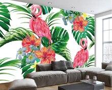 Papel pintado beibehang moderno minimalista 3D, papel tapiz nórdico pintado a mano, hojas de palma, flamenco, fresco, papel pintado para paredes, 3 d behang
