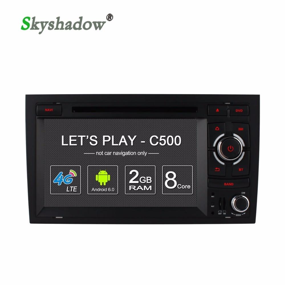 C500 4G LTE 8 Core reproductor de DVD para coche Android 6,0 mapa GPS DVR Cámara TPMS OBD2 Bluetooth WIFI Radio para Audi A4 RS4 2002-2007 de 2008