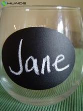 48 piezas 2,5 pulgadas negro Mini Chalkbord etiquetas pegatinas pizarra vino vidrio etiquetas vinilo extraíble impermeable pared calcomanía A640