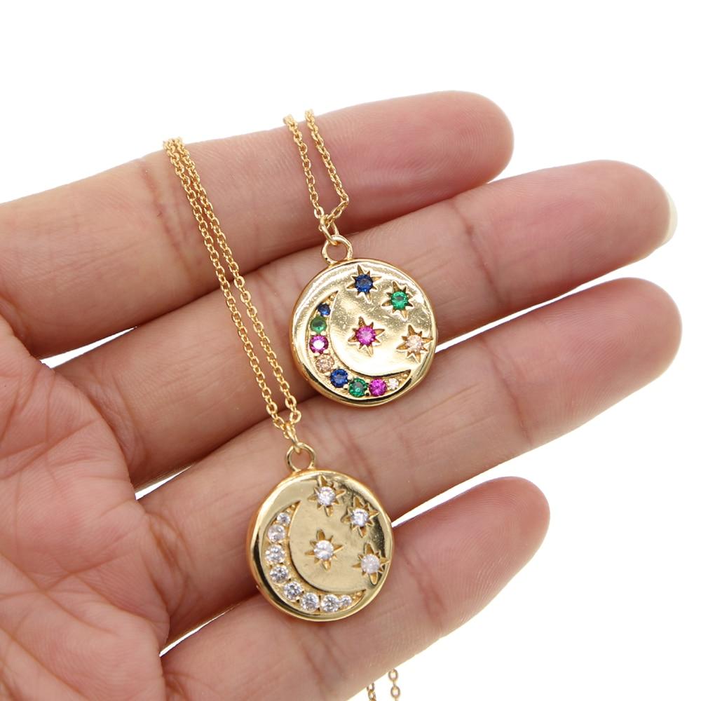 Verano Boho Moon & Multi Star collares con colgantes cadena de oro enlace moneda collar pave Clear/Arco Iris CZ collar joyería Mujer Accesorios