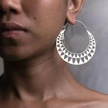 2018 High Quality Meatl Round Hoop Earrings For Women Boho Ethnic Antique  Silver Color Big Hook Earrings Women Indian Jewelry