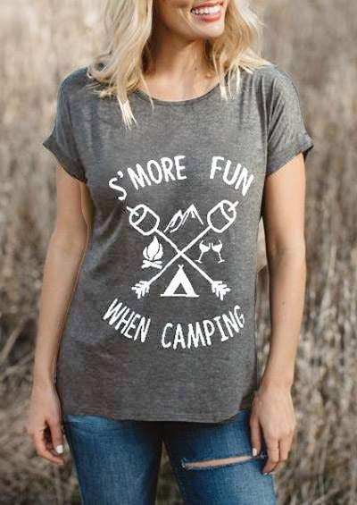 Smore divertido quando acampar T-Shirt Slogan Engraçado Tee Casual Tops de Algodão Unisex Do Vintage Família camping Roupas O-pescoço camiseta Grunge