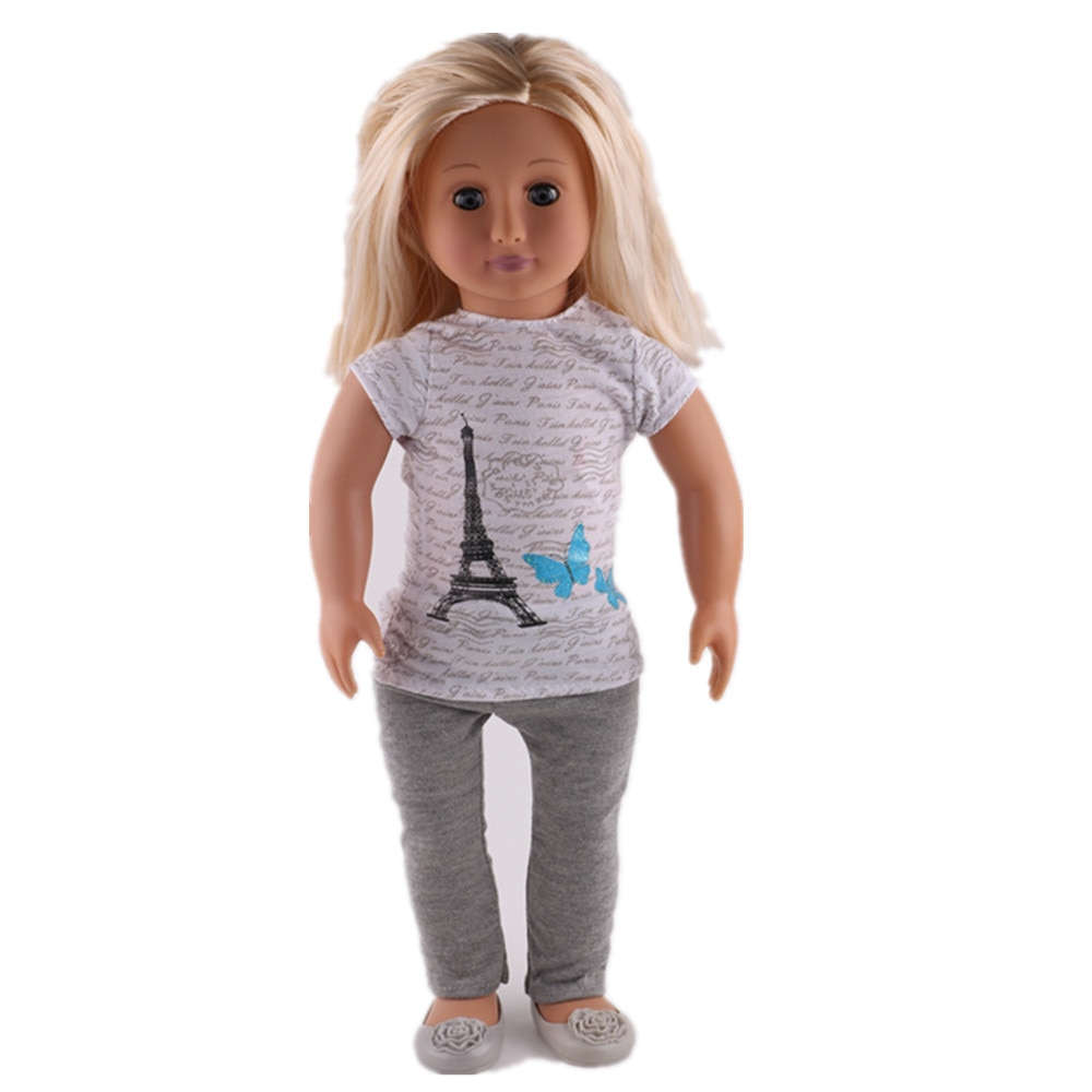 Футболка с рисунком «Башня» LUCKDOLL + колготки, 18 дюймов, размер 43 см, аксессуары для детской одежды, игрушки для девочек, поколение, подарок на д...
