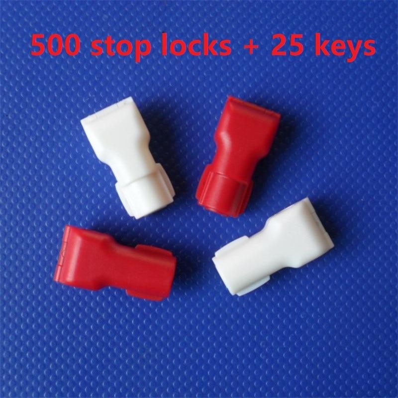 500 pces varejo loja de segurança 6mm stop lock + 25 destacadores, para haste & peg exibir ganchos anti-roubo anti varredura
